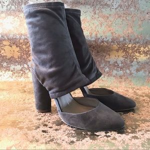 FRH FAUX SUEDE TAUPE ANKLE SLOUCH BOOTIE HEELS 9.5